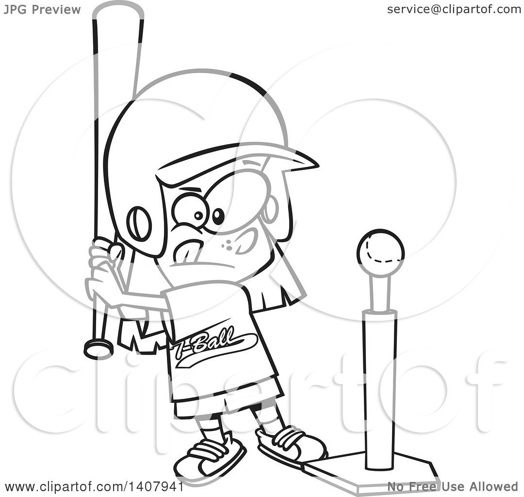 Clipart Of A Cartoon Black And White Lineart Little Girl Playing T Ball