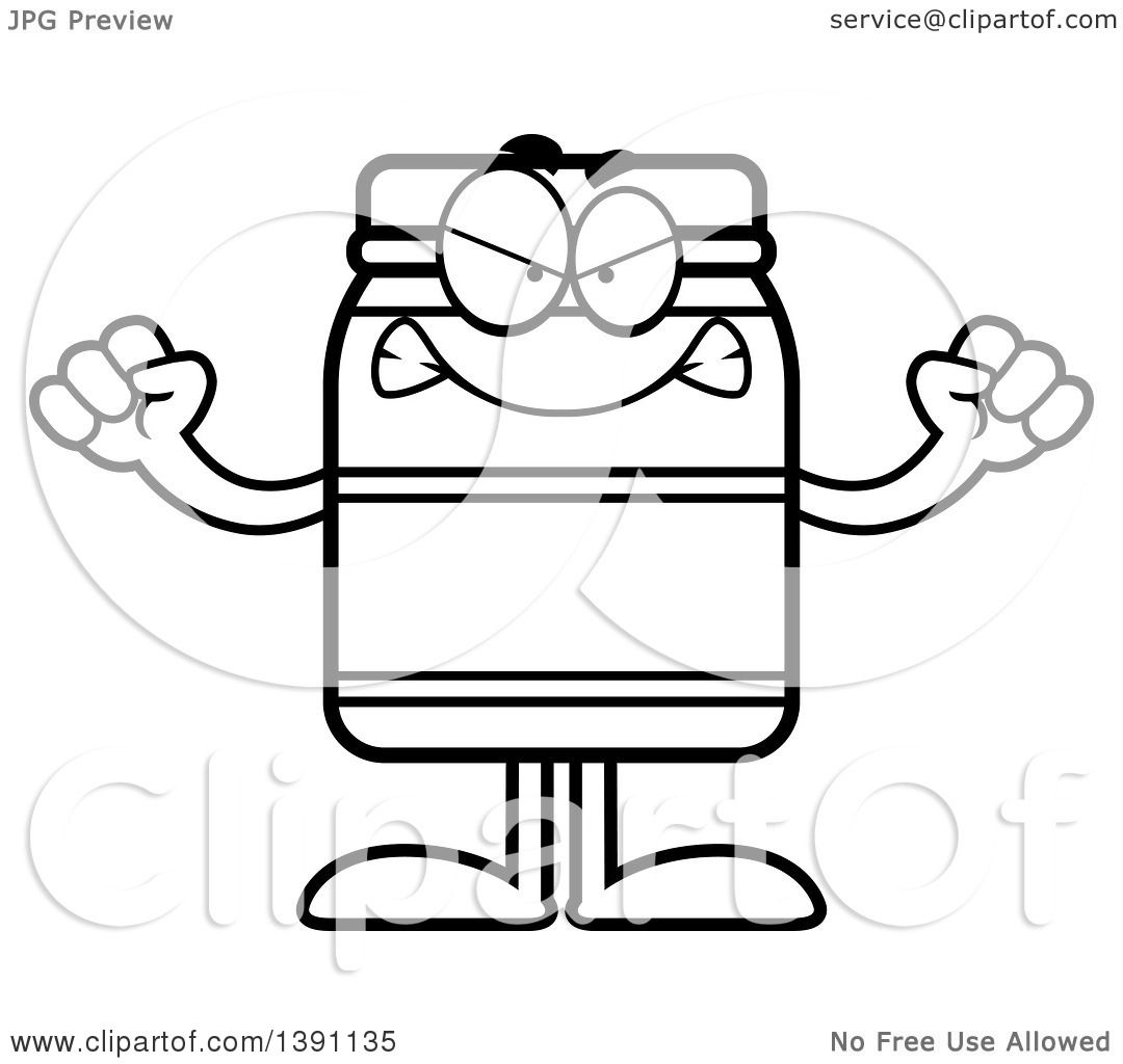 Clipart Of A Cartoon Black And White Lineart Mad Jam Jelly
