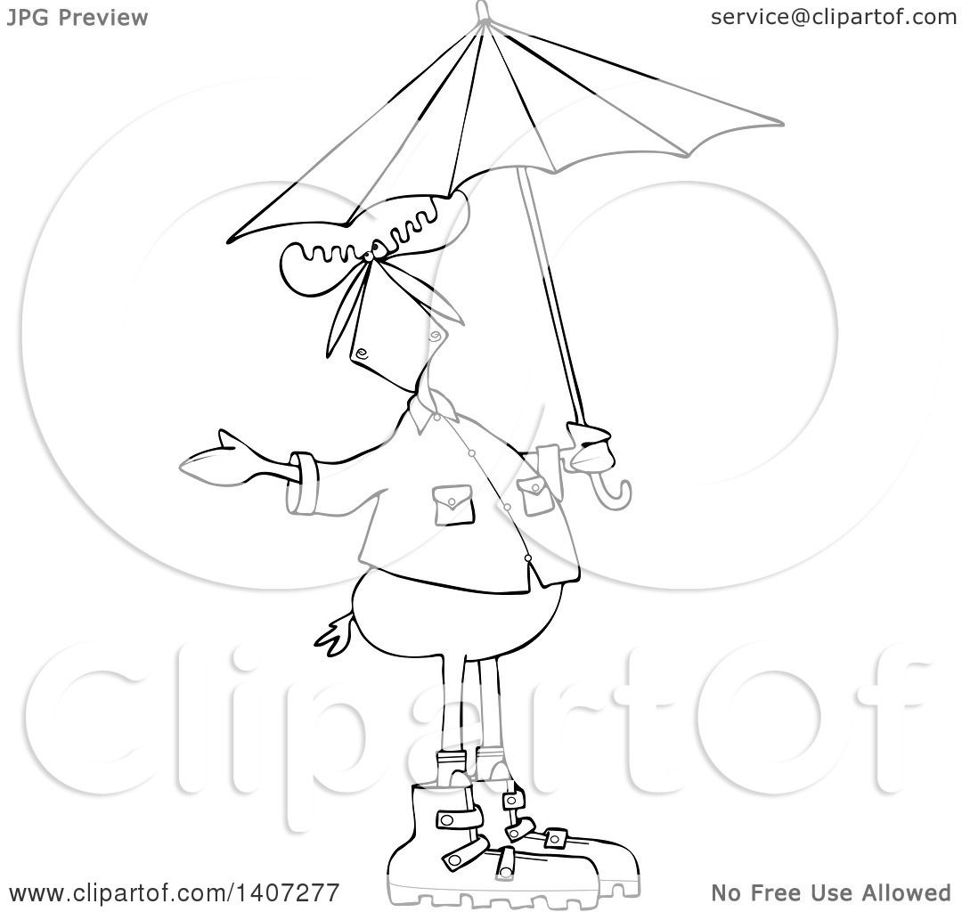 Clipart Of A Cartoon Black And White Lineart Moose In Rain