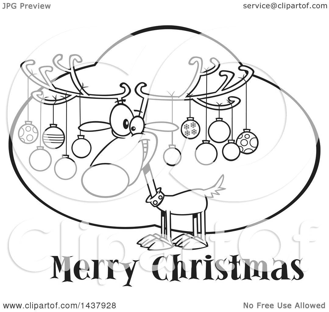Clipart Of A Cartoon Black And White Lineart Reindeer With