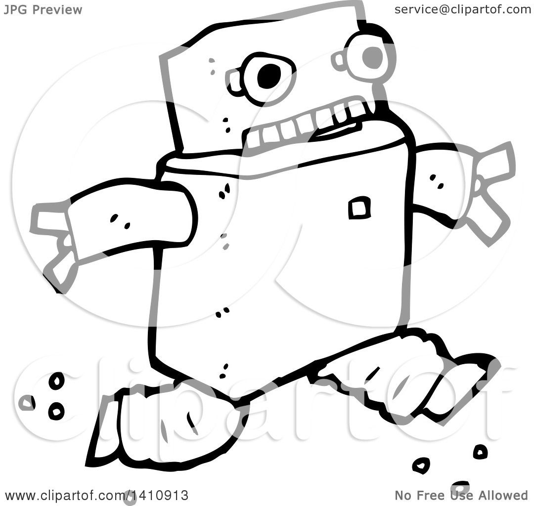 Clipart Of A Cartoon Black And White Lineart Robot