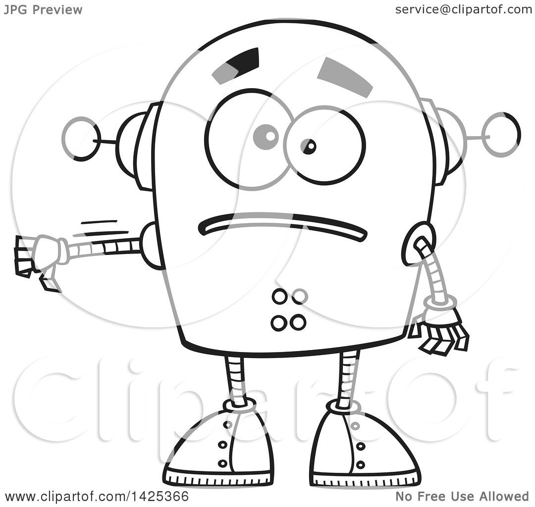 Clipart Of A Cartoon Black And White Lineart Sad Robot
