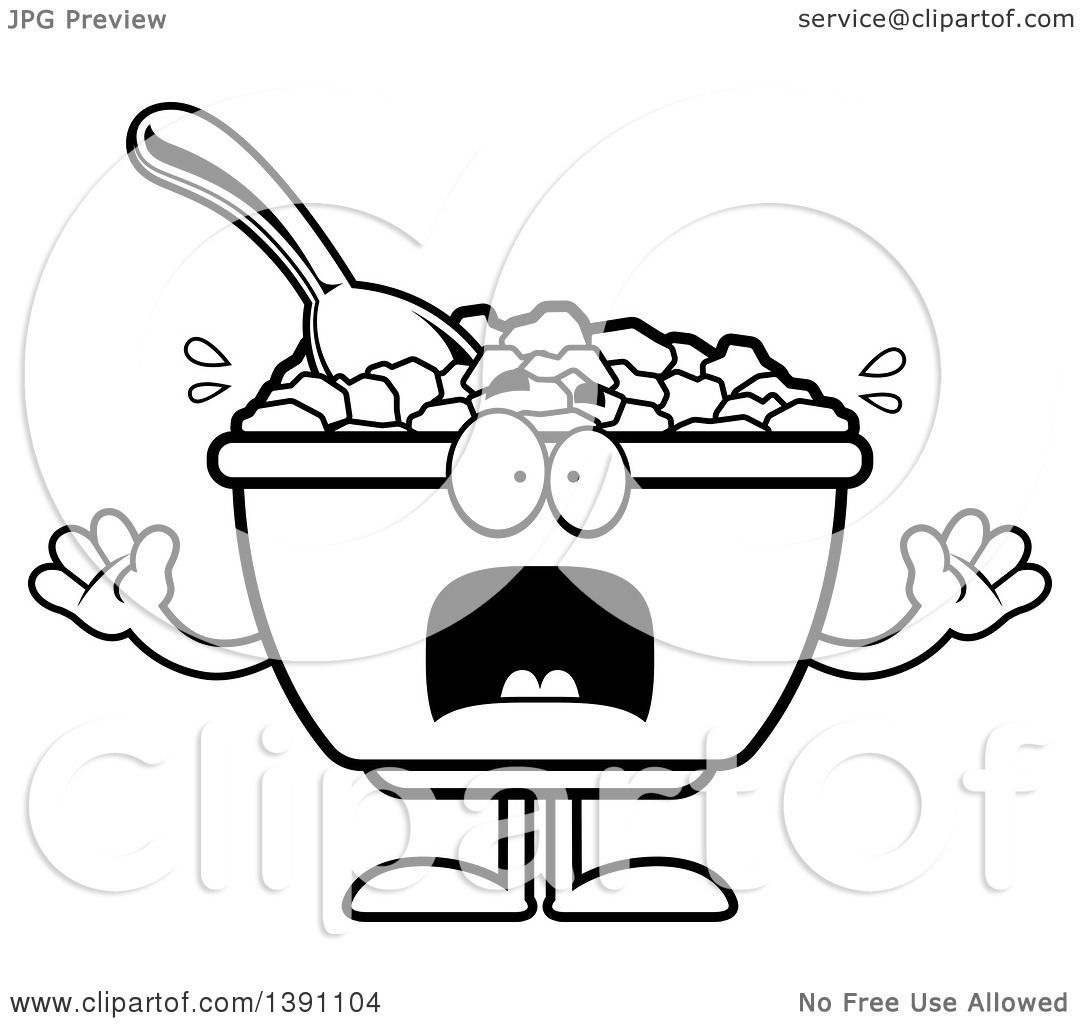 Clipart Of A Cartoon Black And White Lineart Scared Bowl
