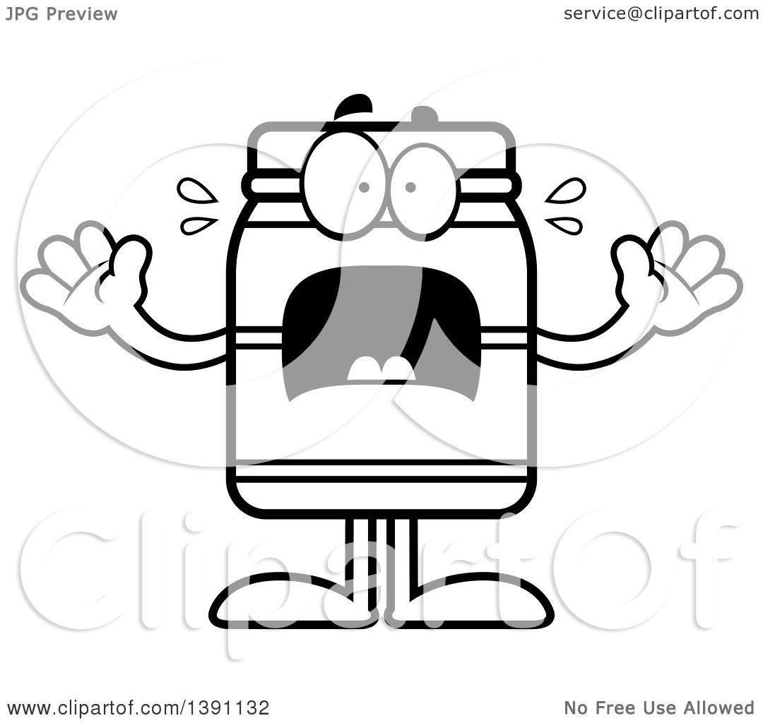 Clipart Of A Cartoon Black And White Lineart Scared Jam