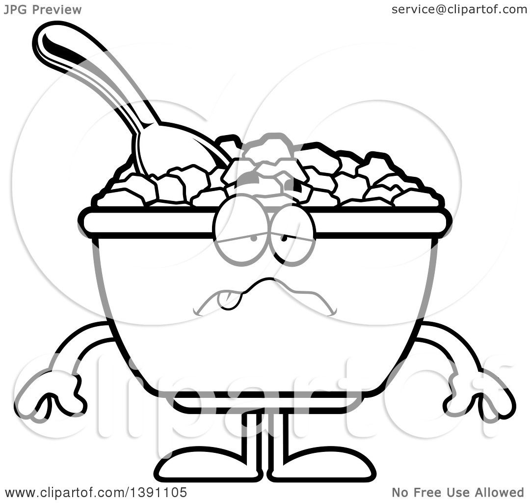 Clipart Of A Cartoon Black And White Lineart Sick Bowl Of
