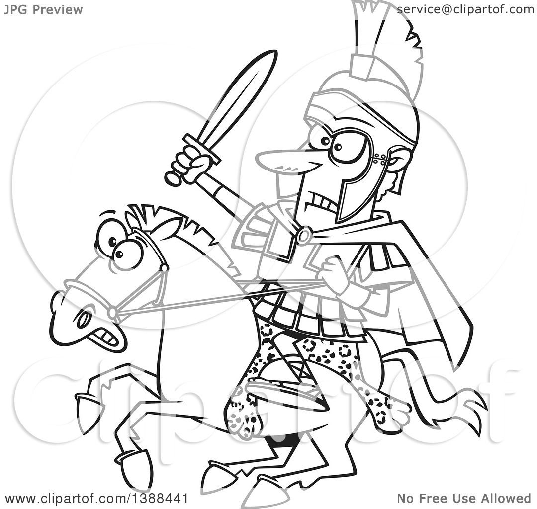 Clipart Of A Cartoon Black And White Lineart Spartan