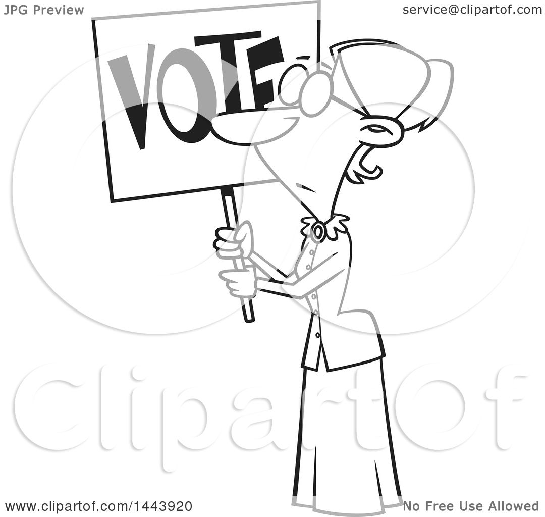Clipart Of A Cartoon Black And White Lineart Woman Susan