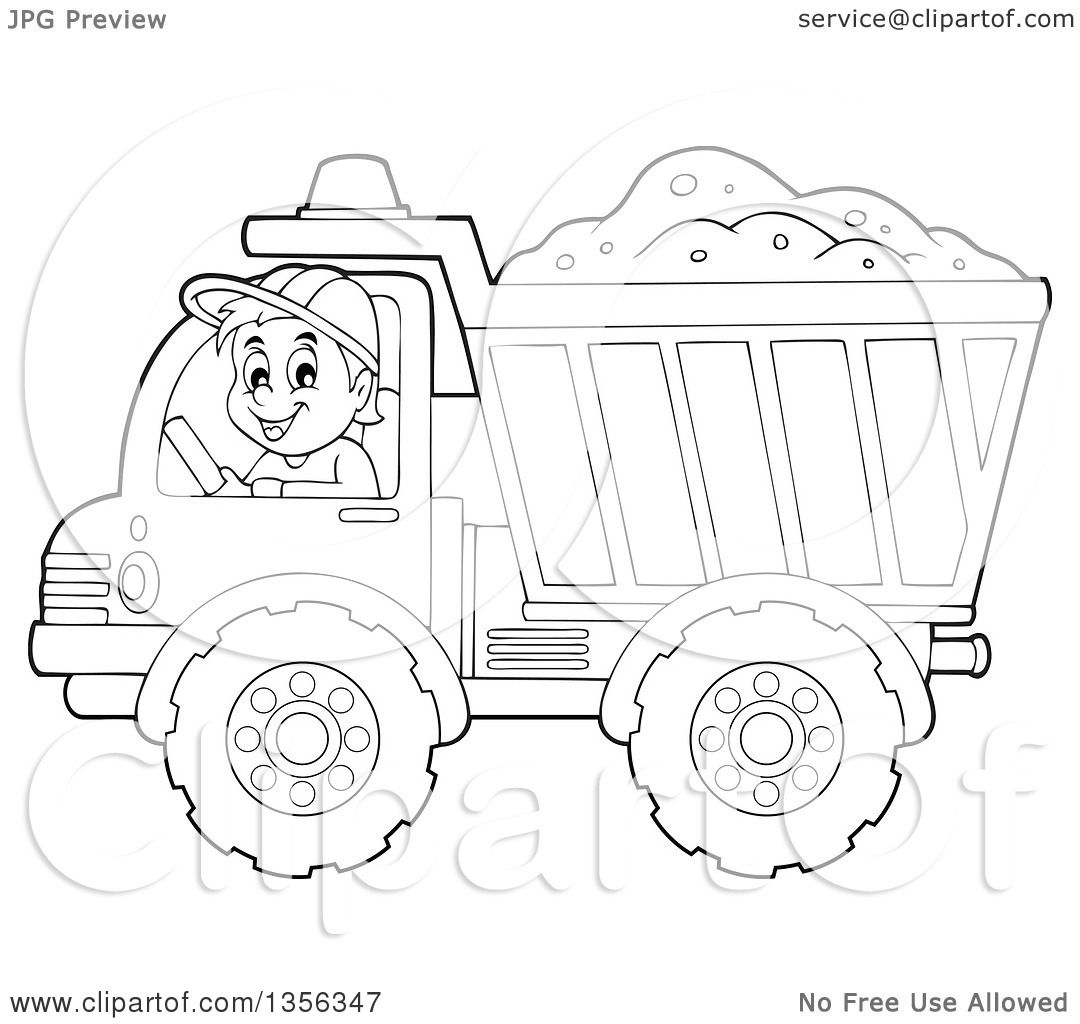 Clipart Of A Cartoon Black And White Male Construction