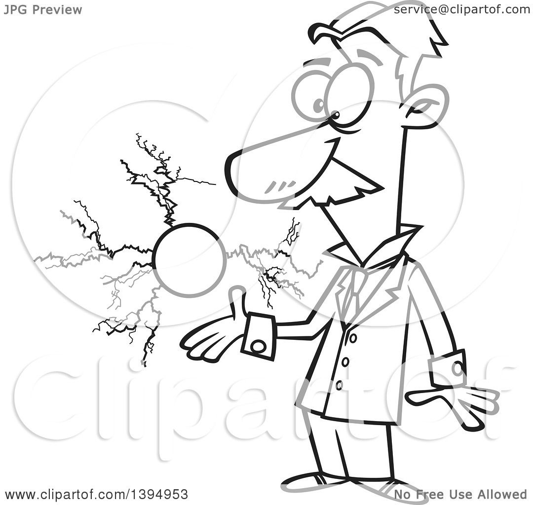 Clipart Of A Cartoon Black And White Male Electrical