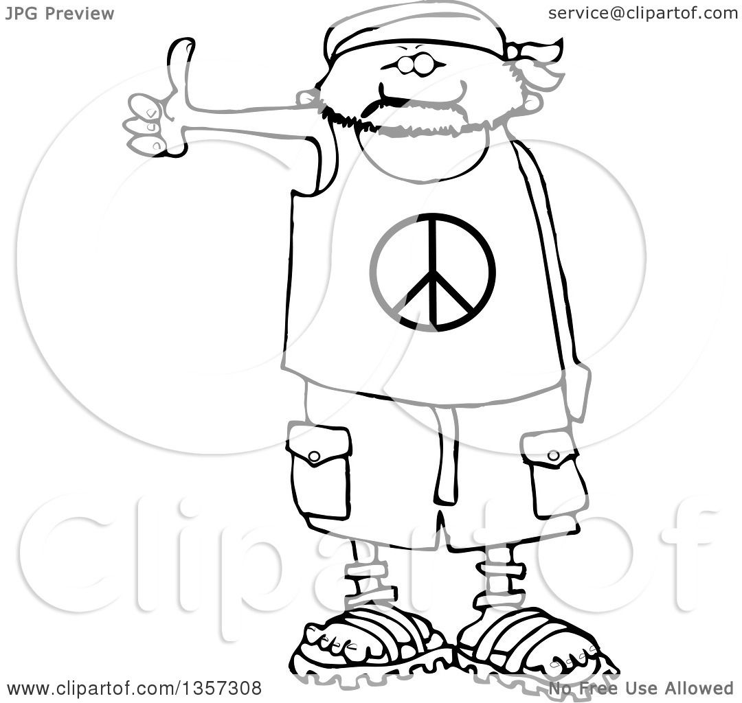 Clipart Of A Cartoon Black And White Male Hitchhiker