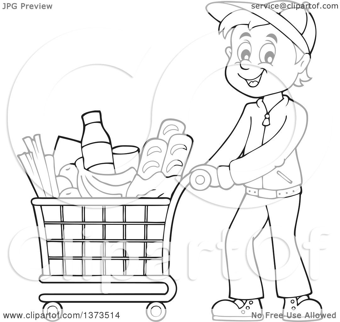 Clipart Of A Cartoon Black And White Man Pushing A