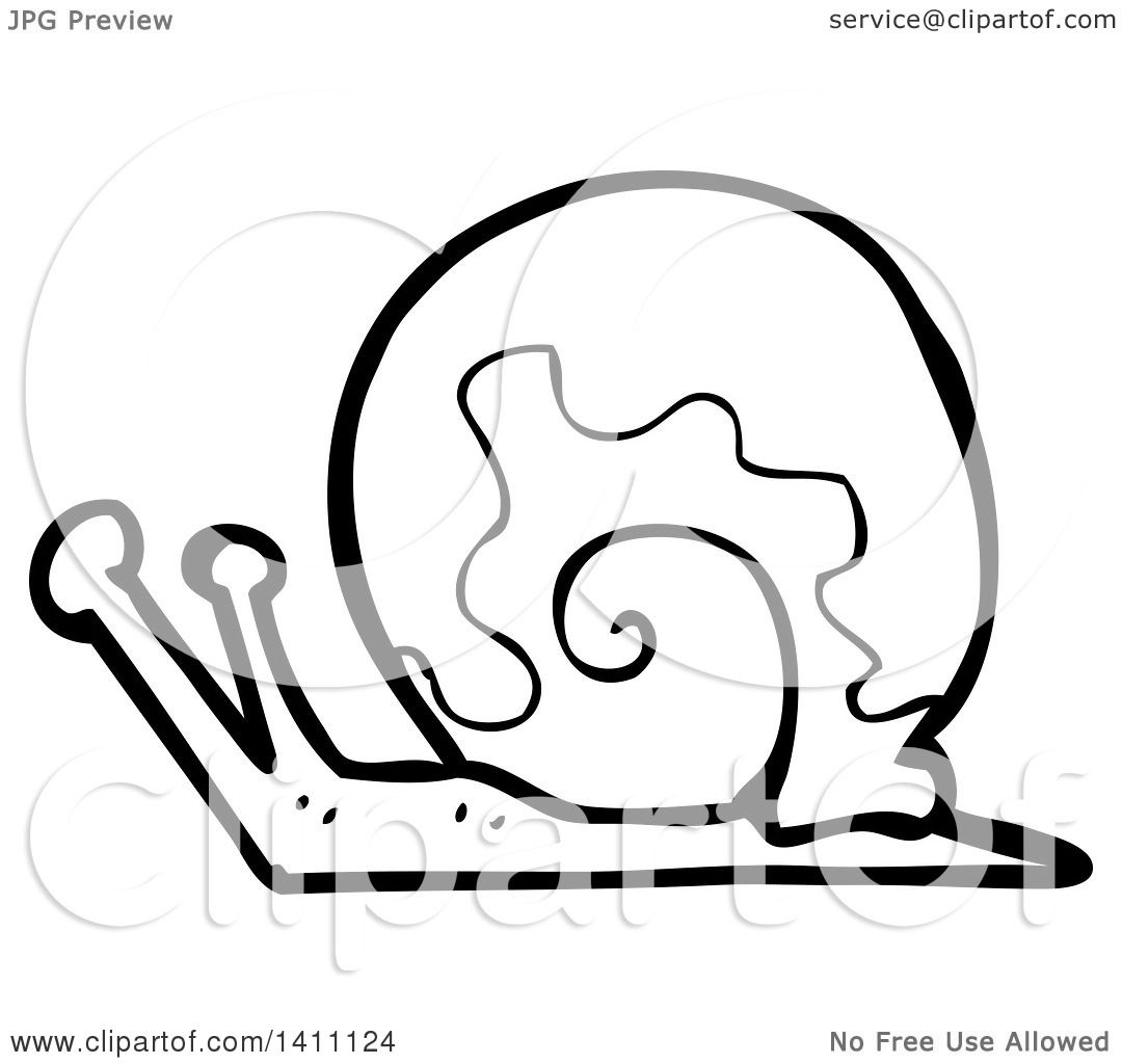 Clipart Of A Cartoon Black And White Snail