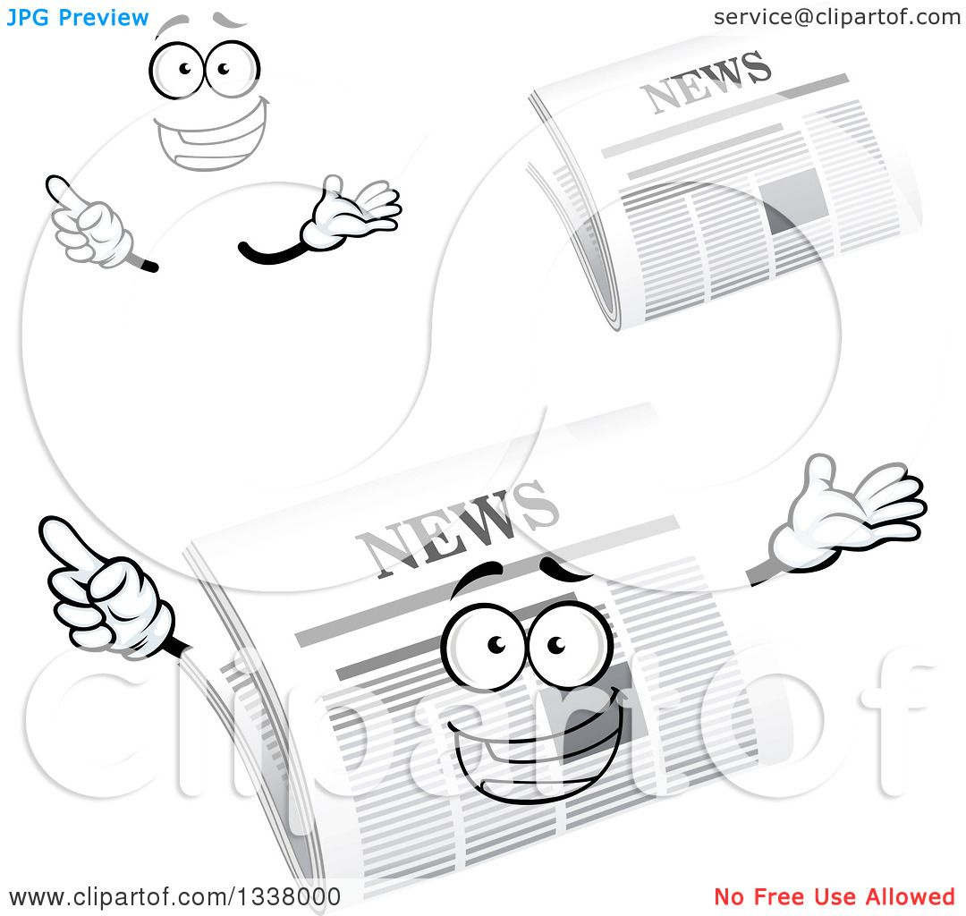 Clipart Of A Cartoon Face Hands And Newspapers 2