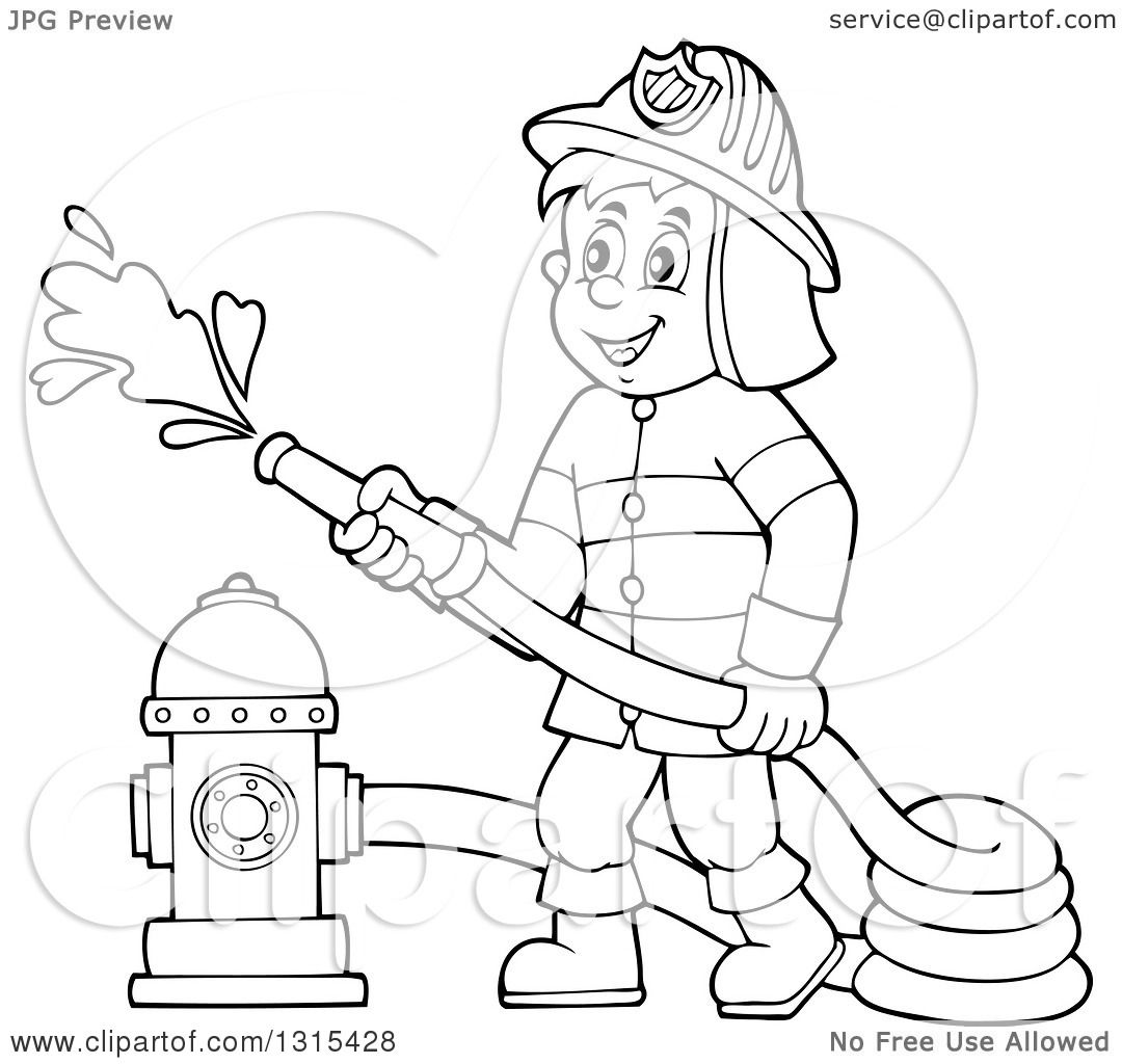Clipart Of A Cartoon Happy Black And White Male Fireman