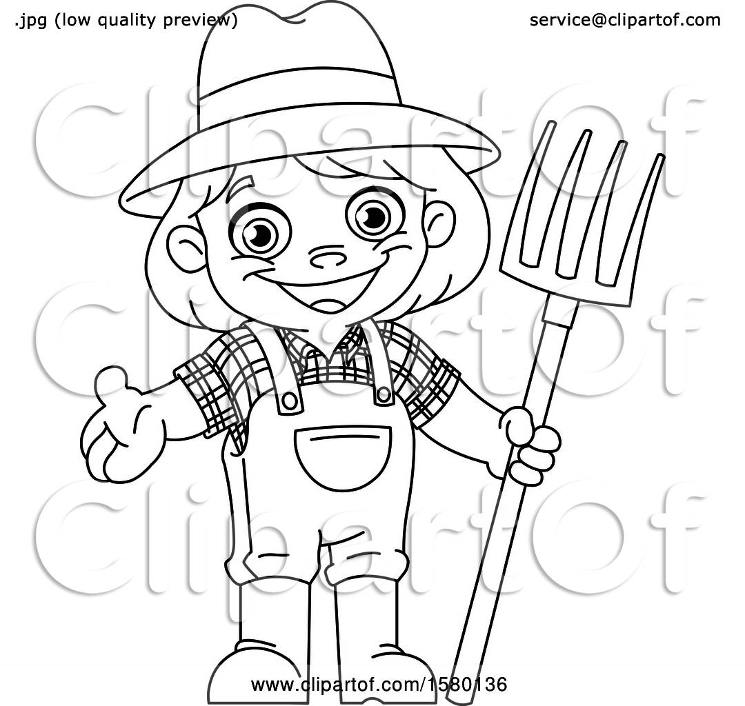 Clipart Of A Cartoon Lineart Farmer Kid With A Pitchfork