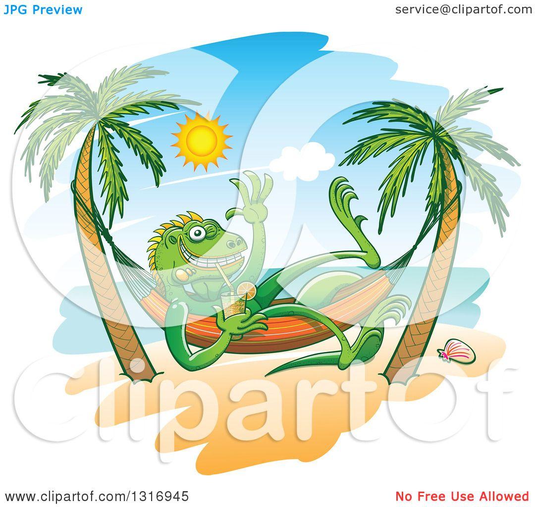 Clipart Of A Cartoon Relaxed Iguana Lizard Waving Drinking