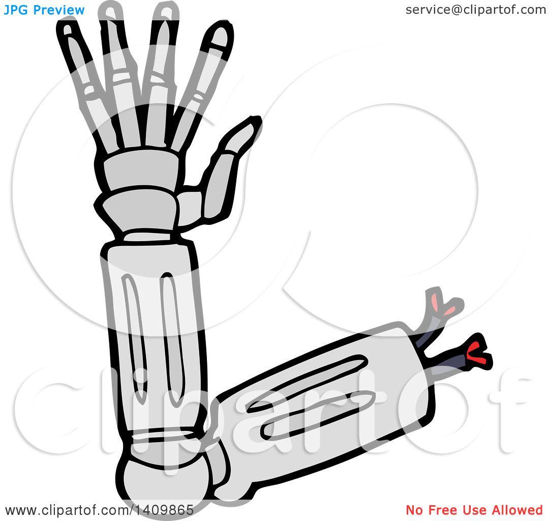 Clipart Of A Cartoon Robot Arm