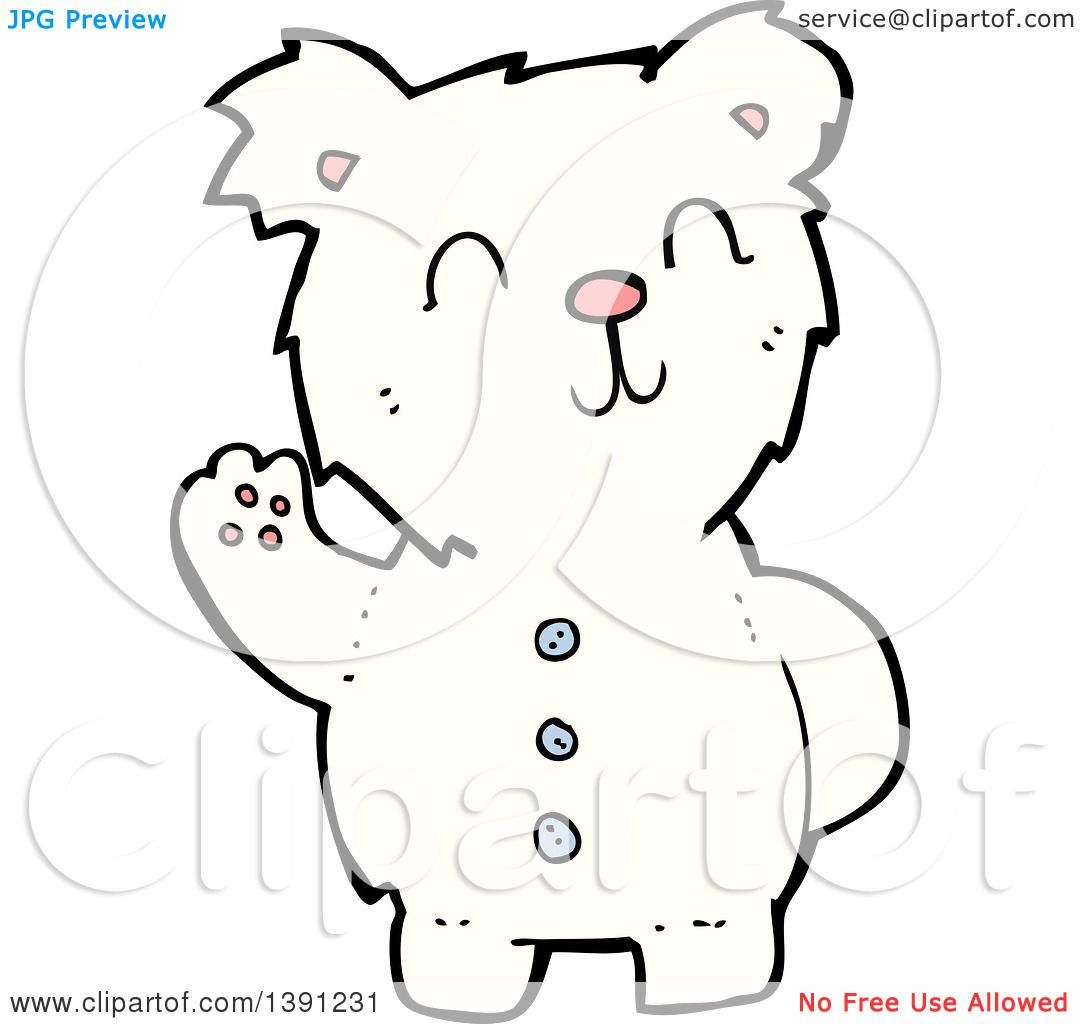 Clipart Of A Cartoon Teddy Polar Bear