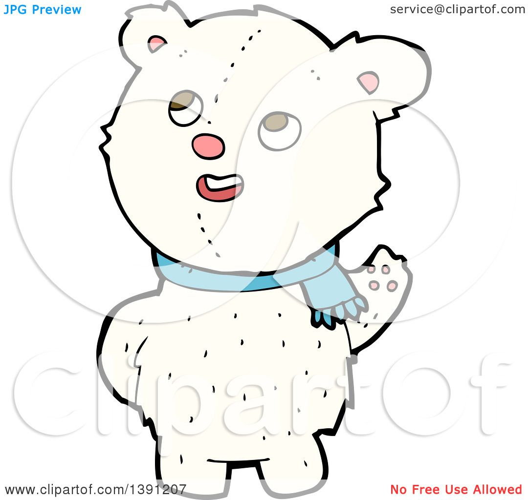 Clipart Of A Cartoon Teddy Polar Bear Wearing A Scarf