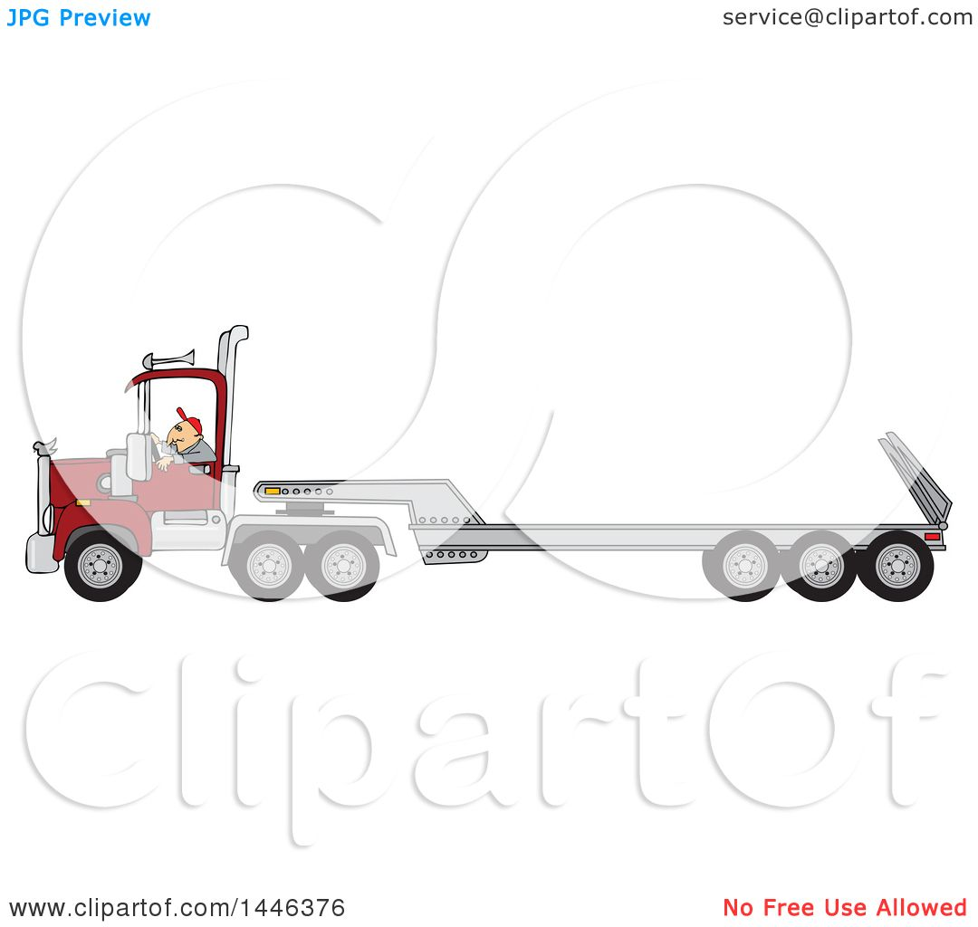 Clipart Of A Cartoon White Male Truck Driver Operating A