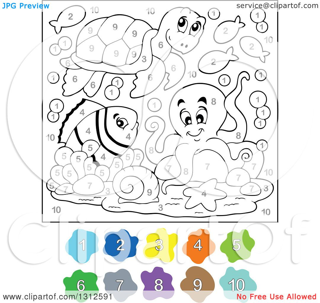 Clipart Of A Color By Number Sea Turtle Fish And Octopus