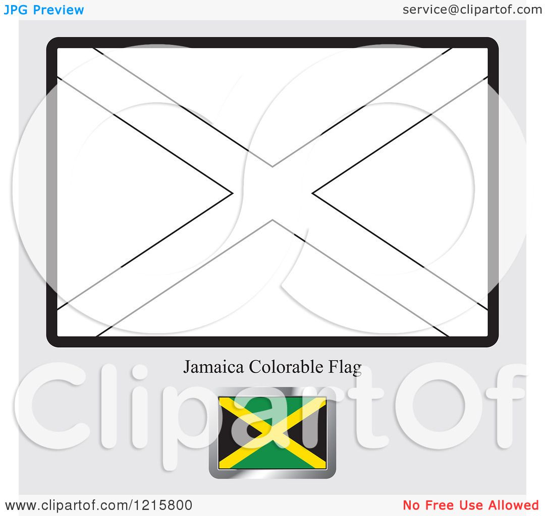 Clipart Of A Coloring Page And Sample For A Jamaica Flag