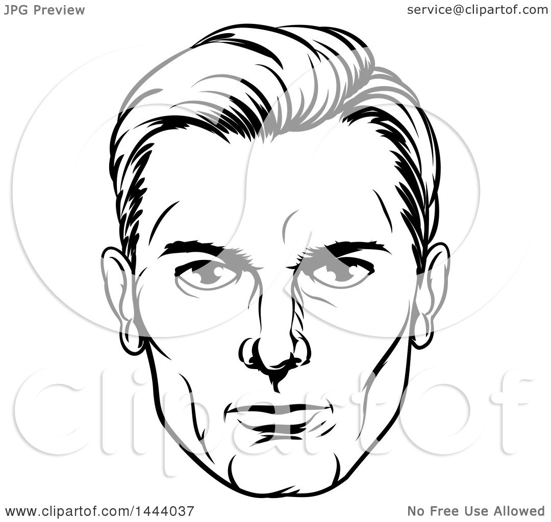 Clipart Of A Comic Styled Black And White Man S Face