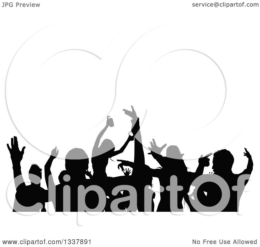 Clipart Of A Crowd Of Black Silhouetted Young Party People