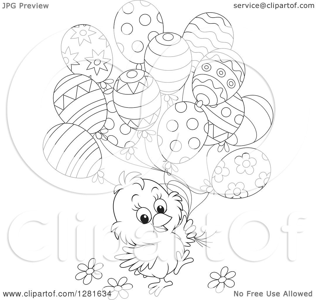 Clipart Of A Cute Black And White Easter Chick With Spring