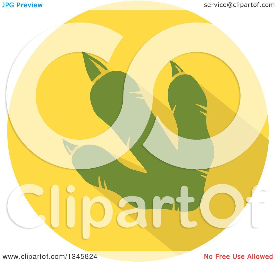 Clipart Of A Flat Design Green Raptor Dinosaur Foot Print