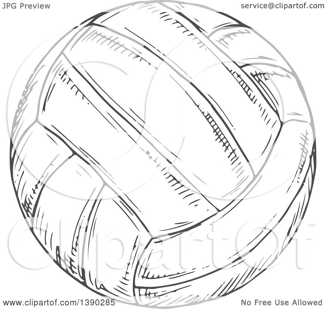 Clipart Of A Gray Sketched Volleyball