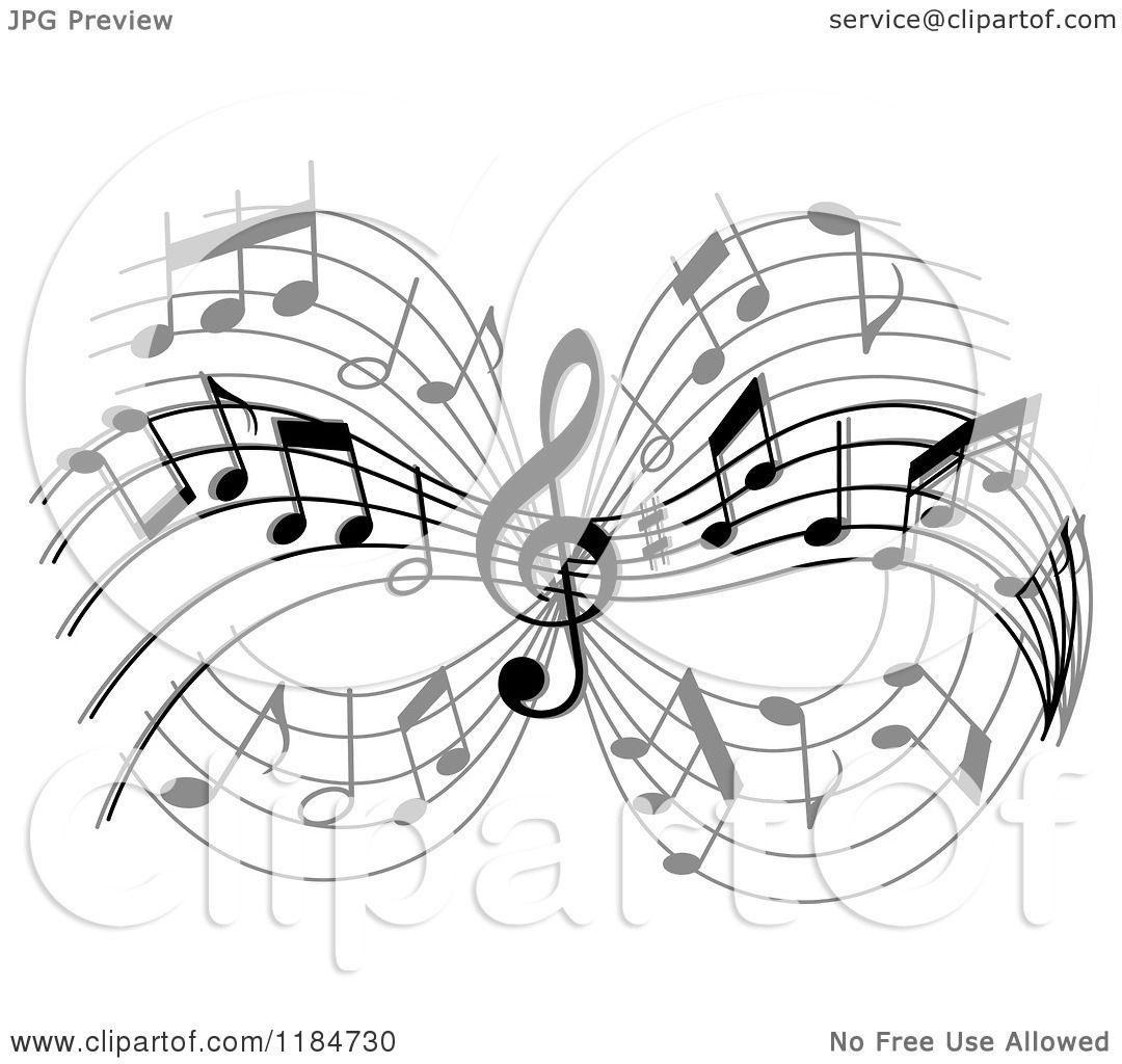 Clipart Of A Grayscale Design Of Music Notes