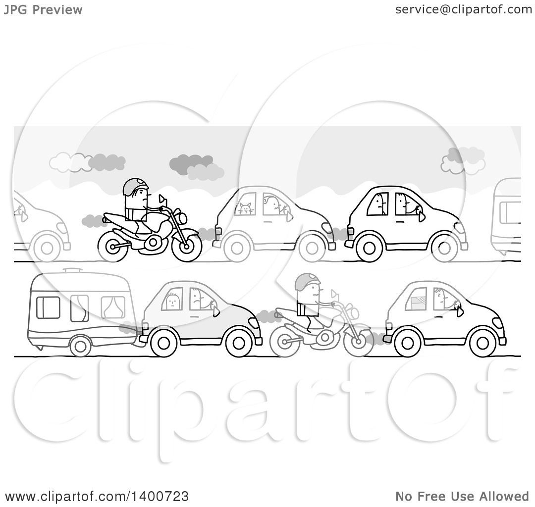 Clipart Of A Grayscale Traffic Jam Of People Going Off On