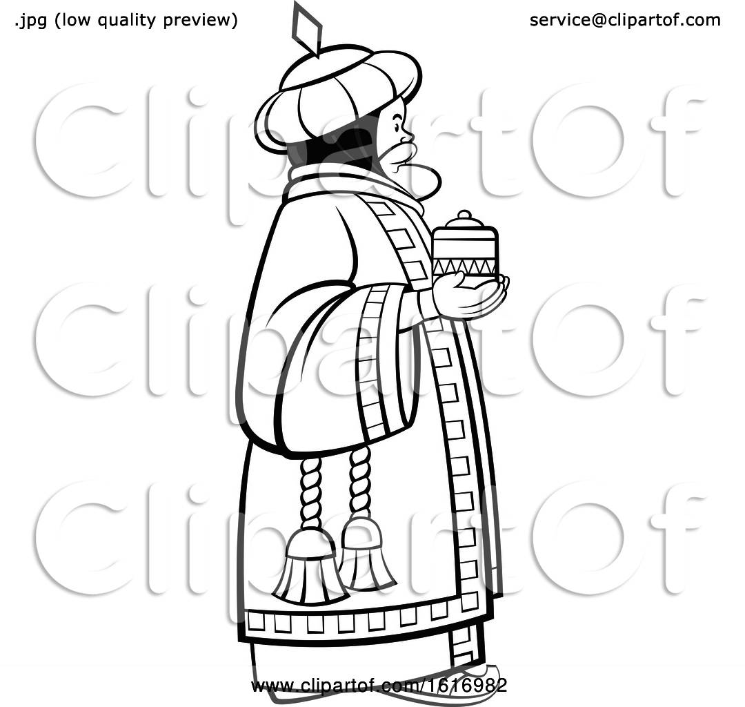 Clipart Of A Grayscale Wise Man Holding A T