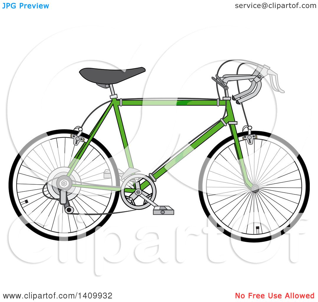 Clipart Of A Green 10 Speed Bicycle