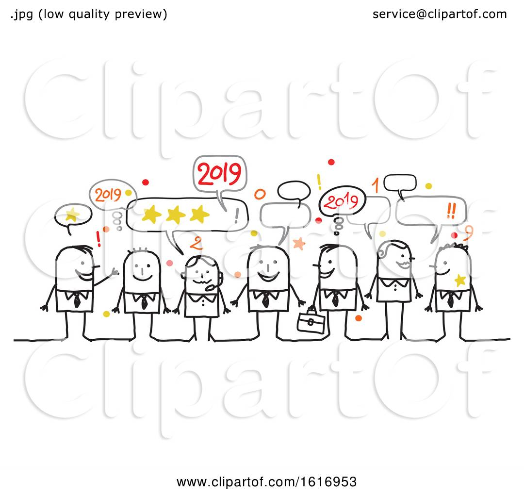 Clipart Of A Group Of Business People Celebrating New Year