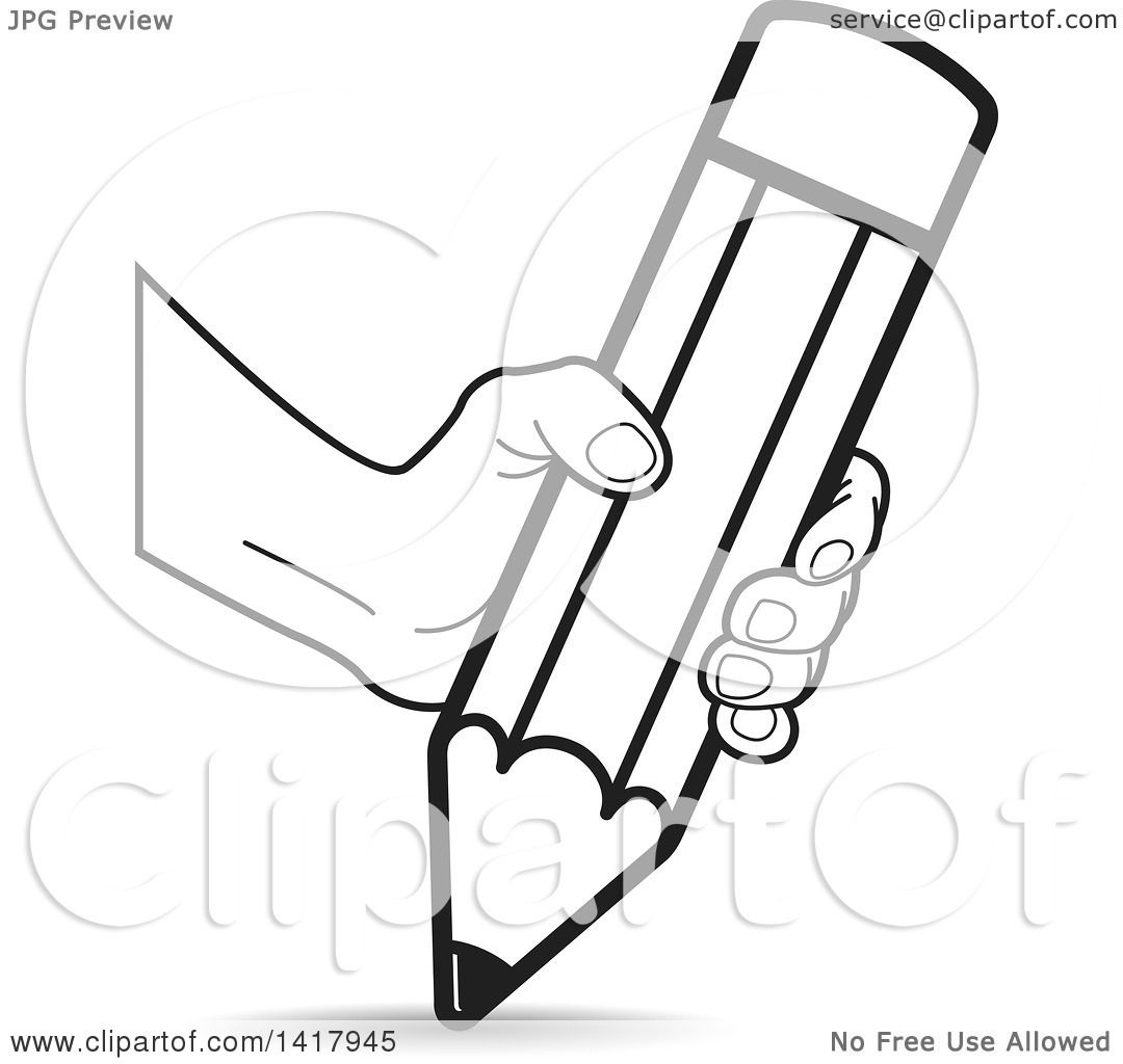 Clipart Of A Hand Writing With A Big Pencil