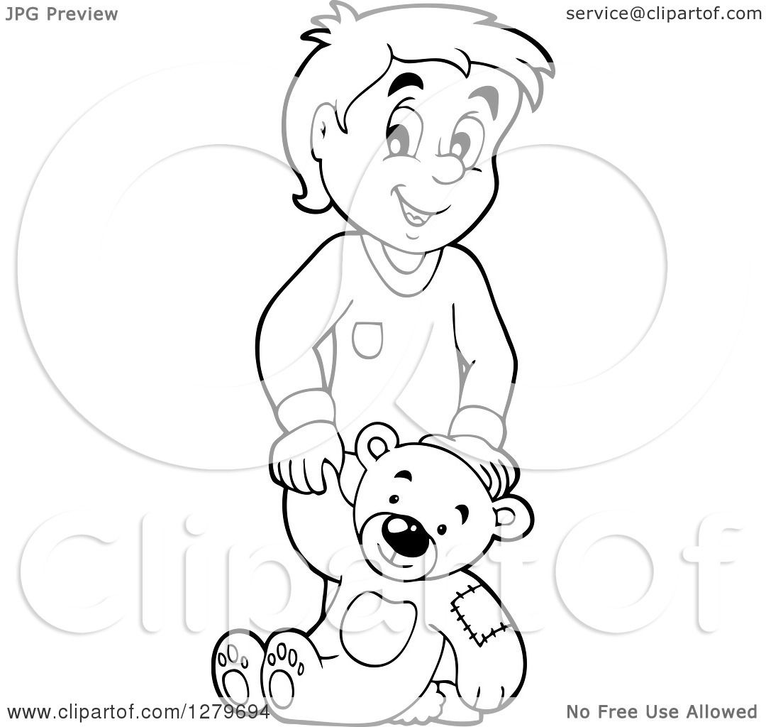 Clipart Of A Happy Black And White Boy Holding A Teddy