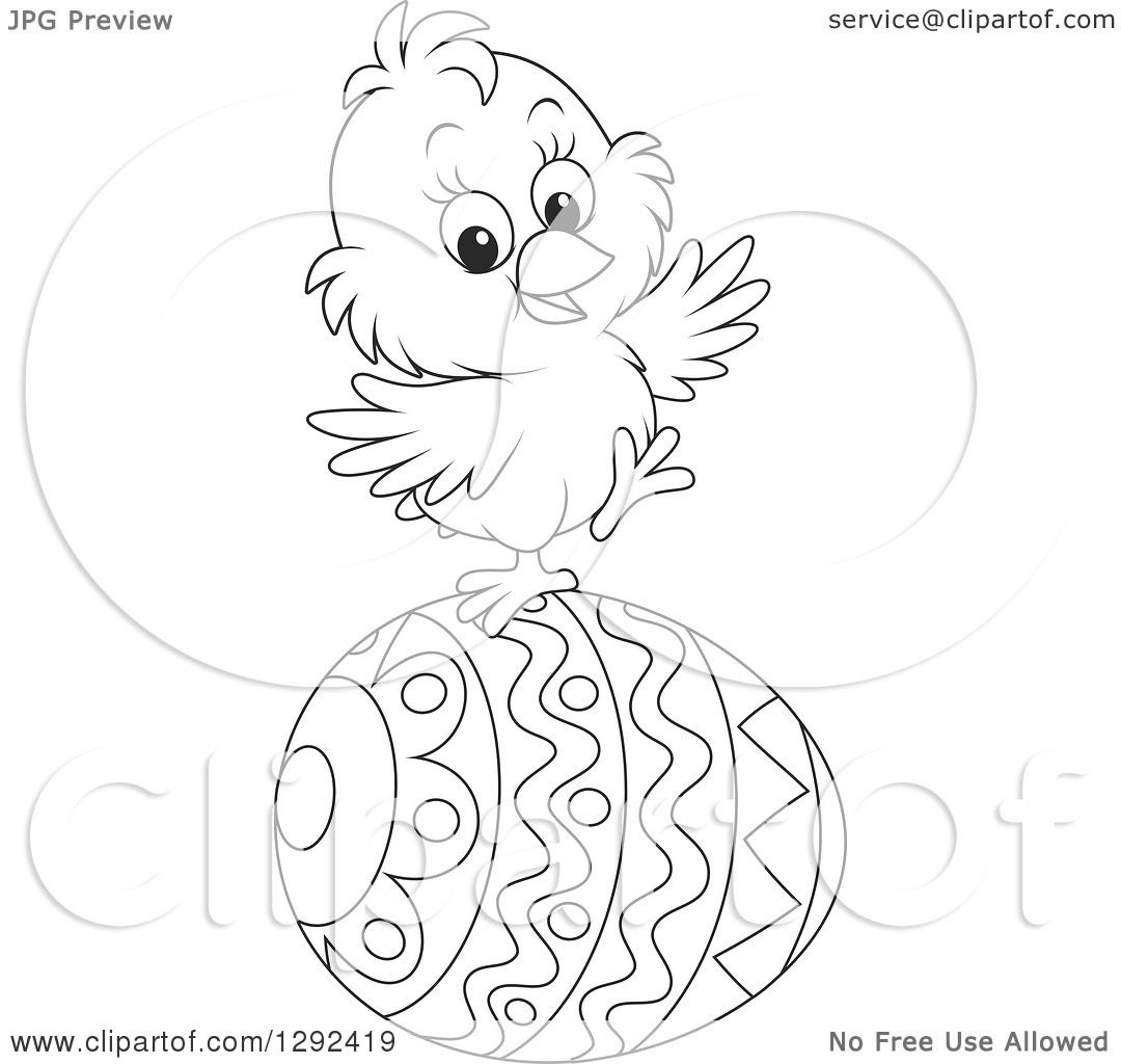 Clipart Of A Happy Black And White Easter Chick Balancing