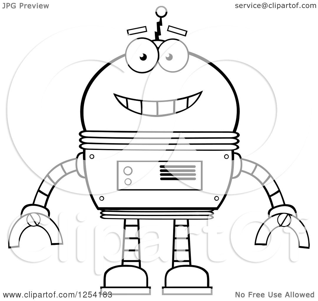 Clipart Of A Happy Black And White Robot