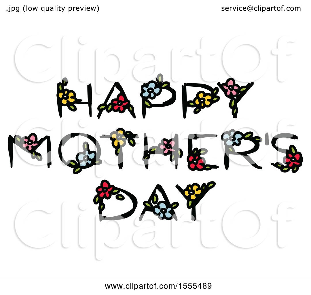Clipart Of A Happy Mothers Day Greeting With Flowers
