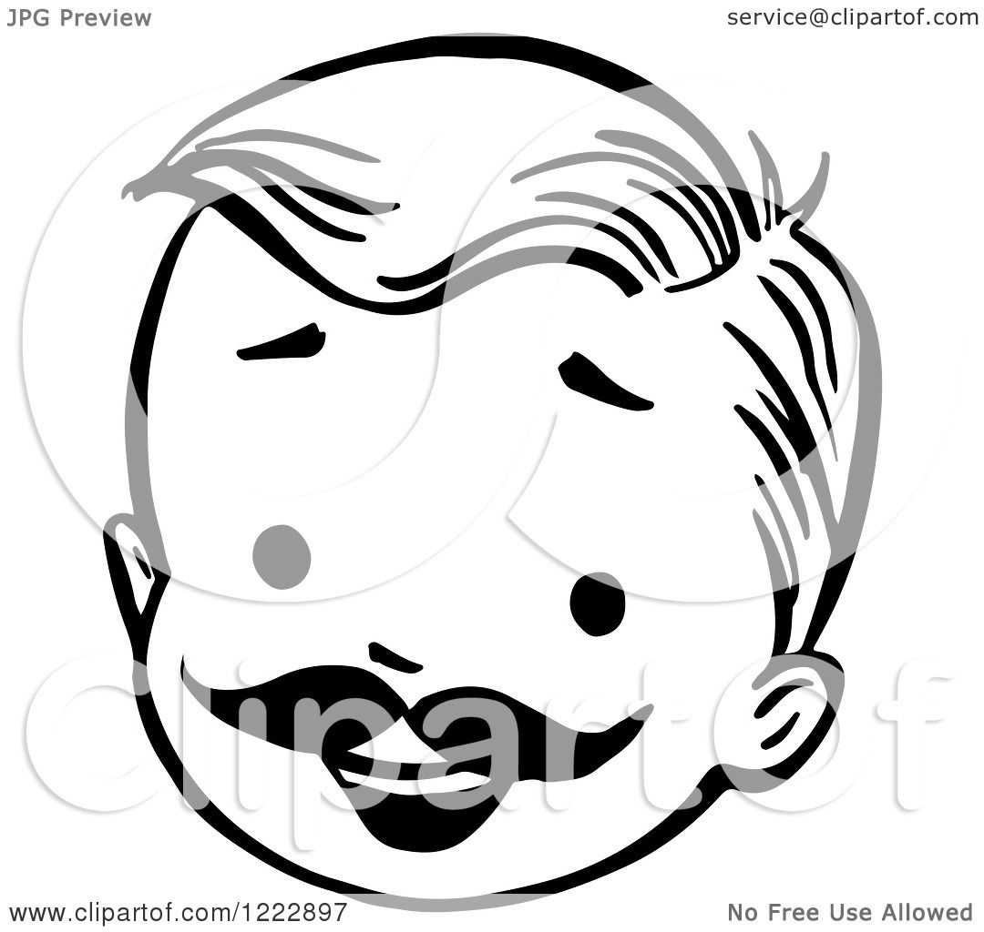 Clipart Of A Happy Retro Boy Face With A Mustache In Black