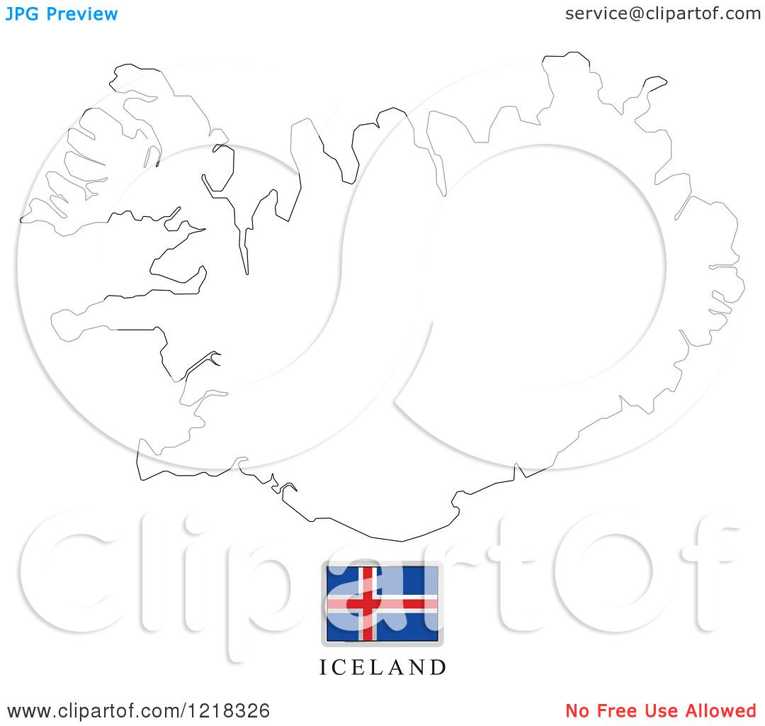 Clipart Of A Iceland Flag And Map Outline