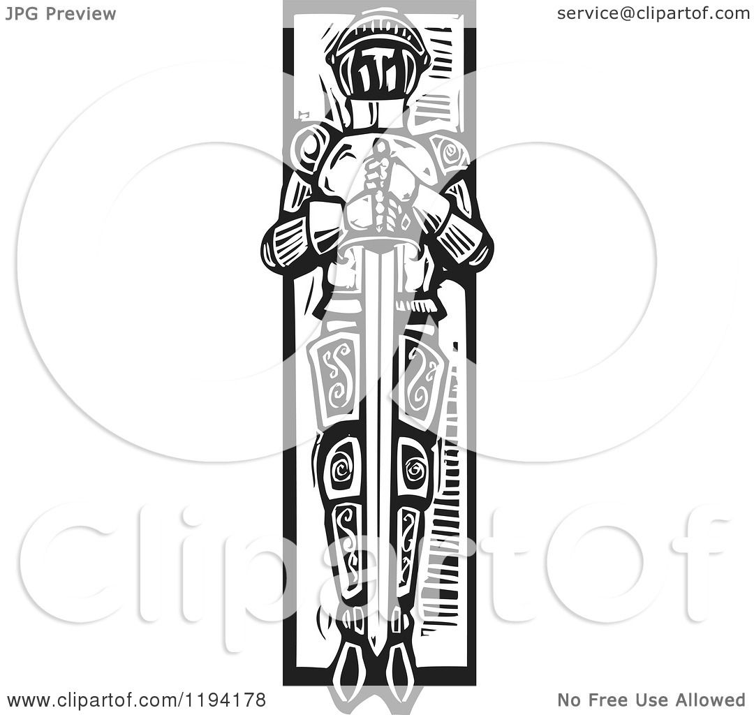 Clipart Of A Knight Laid To Rest With A Sword In A Grave
