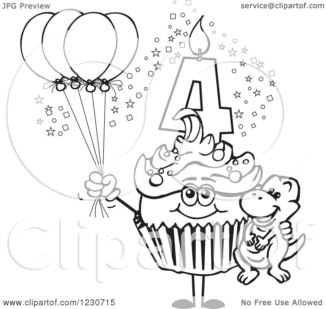 Clipart Of A Line Art Boys Fourth Birthday Cupcake With A
