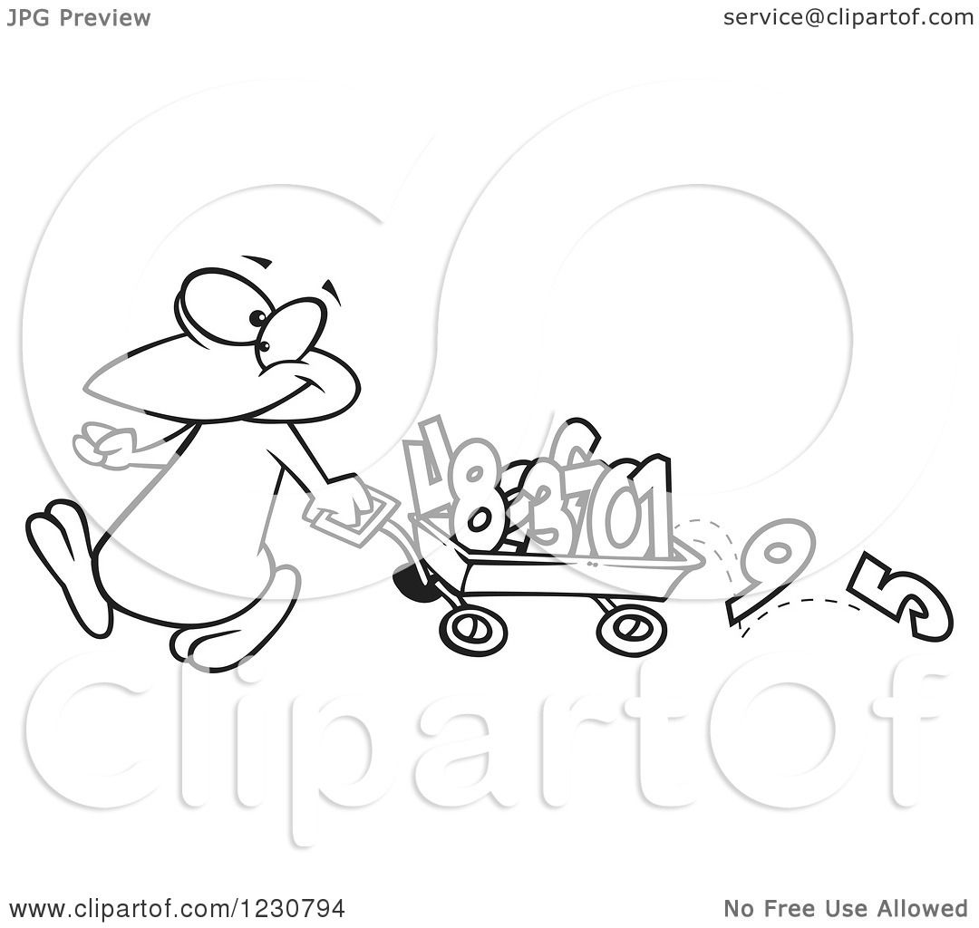 Clipart Of A Line Art Cartoon Penguin Pulling Numbers In A