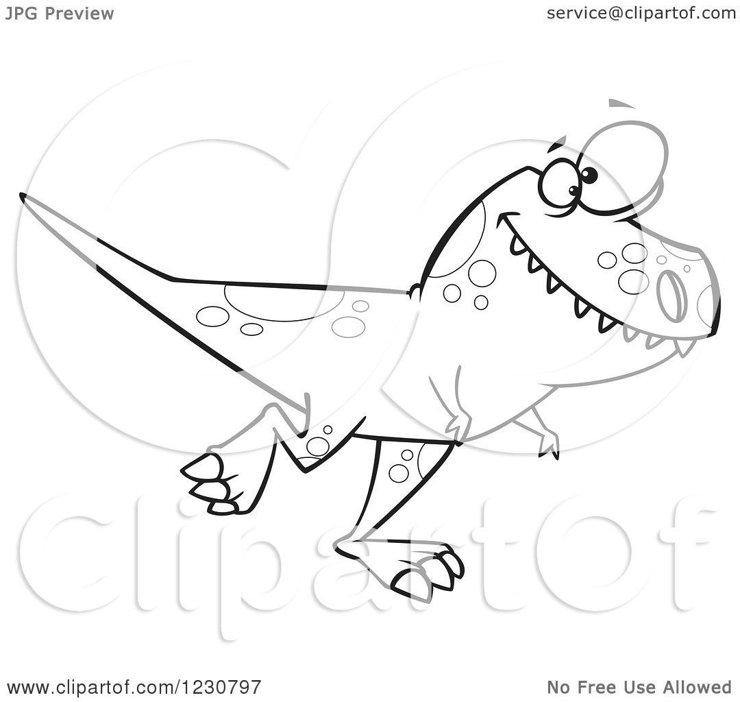 Clipart Of A Line Art Cartoon T Rex Dinosaur Walking