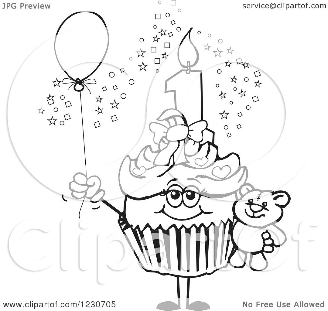 Clipart Of A Line Art Girls First Birthday Cupcake With A