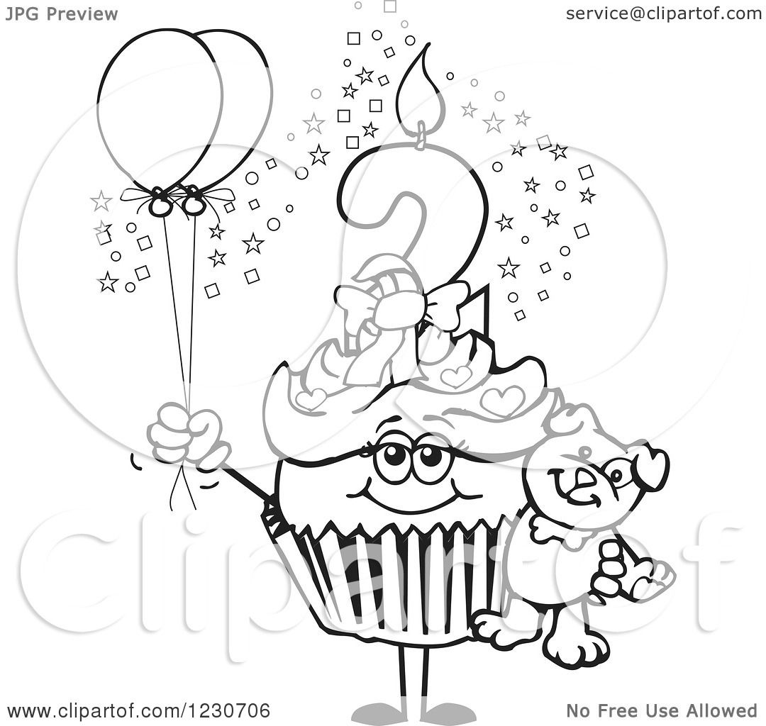 Clipart Of A Line Art Girls Second Birthday Cupcake With A