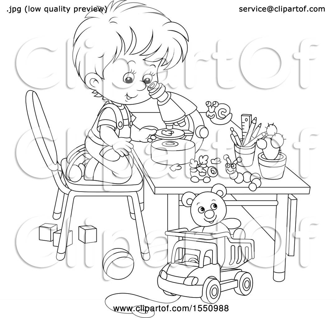 Clipart Of A Lineart Boy Looking Through A Microscope